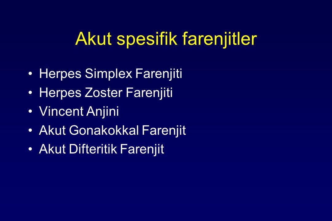 Akut spesifik farenjitler Herpes Simplex Farenjiti Herpes Zoster Farenjiti Vincent Anjini Akut Gonakokkal Farenjit Akut Difteritik Farenjit