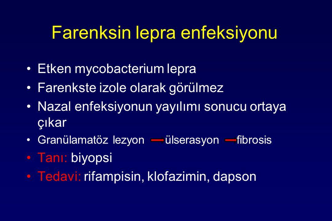 Farenksin lepra enfeksiyonu Etken mycobacterium lepra Farenkste izole olarak görülmez Nazal enfeksiyonun yayılımı sonucu ortaya çıkar Granülamatöz lezyon ülserasyon fibrosis Tanı: biyopsi Tedavi: rifampisin, klofazimin, dapson