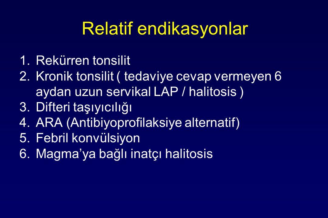 Relatif endikasyonlar 1.Rekürren tonsilit 2.Kronik tonsilit ( tedaviye cevap vermeyen 6 aydan uzun servikal LAP / halitosis ) 3.Difteri taşıyıcılığı 4.ARA (Antibiyoprofilaksiye alternatif) 5.Febril konvülsiyon 6.Magma'ya bağlı inatçı halitosis