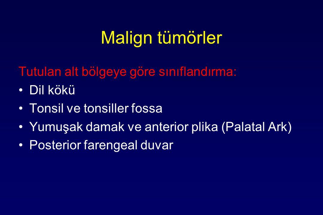 Malign tümörler Tutulan alt bölgeye göre sınıflandırma: Dil kökü Tonsil ve tonsiller fossa Yumuşak damak ve anterior plika (Palatal Ark) Posterior farengeal duvar