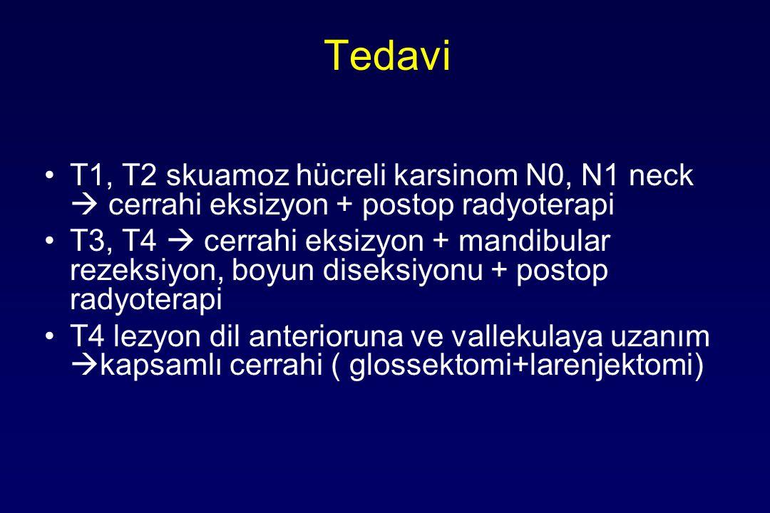 Tedavi T1, T2 skuamoz hücreli karsinom N0, N1 neck  cerrahi eksizyon + postop radyoterapi T3, T4  cerrahi eksizyon + mandibular rezeksiyon, boyun diseksiyonu + postop radyoterapi T4 lezyon dil anterioruna ve vallekulaya uzanım  kapsamlı cerrahi ( glossektomi+larenjektomi)