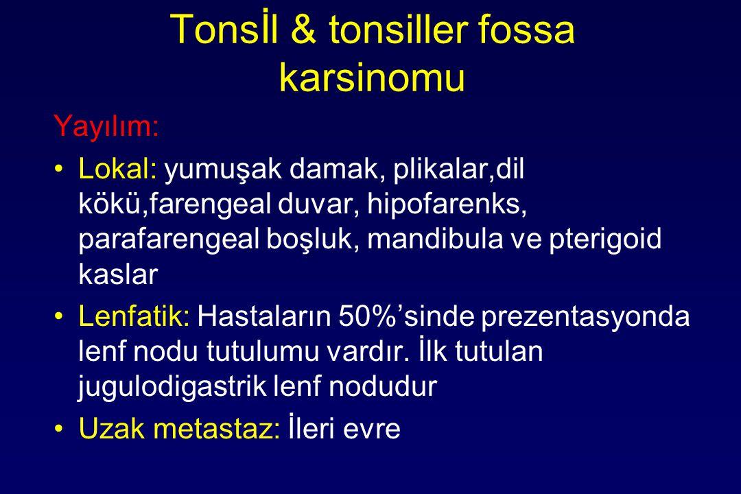 Tonsİl & tonsiller fossa karsinomu Yayılım: Lokal: yumuşak damak, plikalar,dil kökü,farengeal duvar, hipofarenks, parafarengeal boşluk, mandibula ve pterigoid kaslar Lenfatik: Hastaların 50%'sinde prezentasyonda lenf nodu tutulumu vardır.