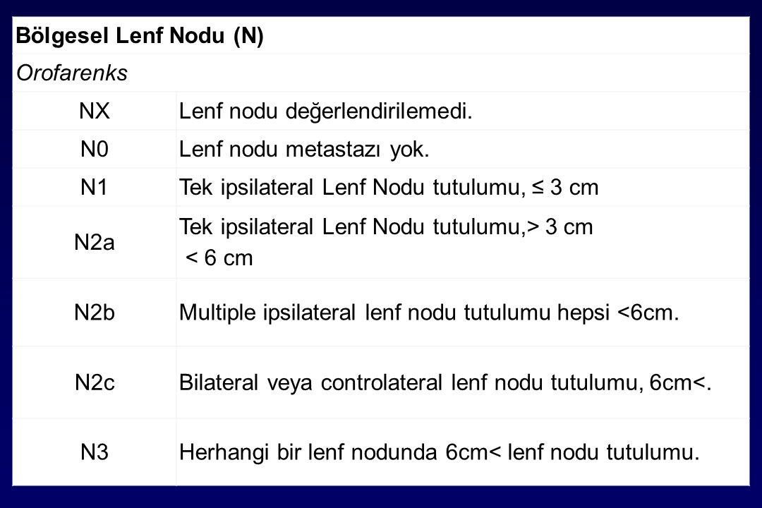 Bölgesel Lenf Nodu (N) Orofarenks NXLenf nodu değerlendirilemedi.