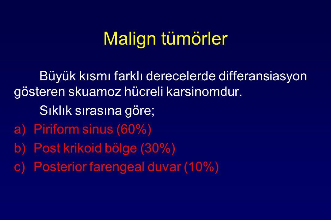 Malign tümörler Büyük kısmı farklı derecelerde differansiasyon gösteren skuamoz hücreli karsinomdur.