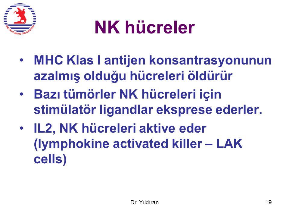 NK hücreler MHC Klas I antijen konsantrasyonunun azalmış olduğu hücreleri öldürür Bazı tümörler NK hücreleri için stimülatör ligandlar eksprese ederler.