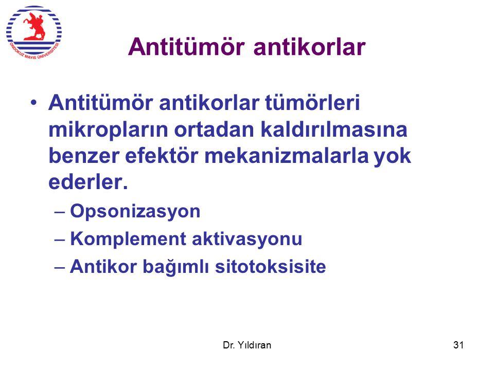 Antitümör antikorlar Antitümör antikorlar tümörleri mikropların ortadan kaldırılmasına benzer efektör mekanizmalarla yok ederler.