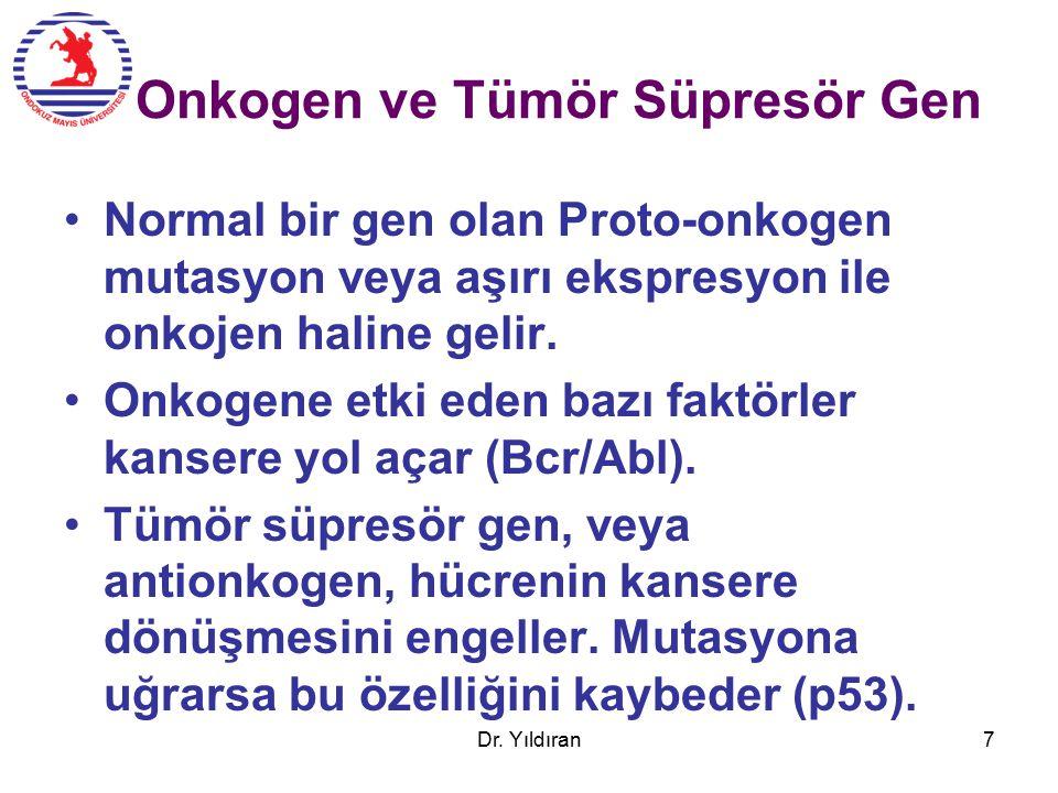 Onkogen ve Tümör Süpresör Gen Normal bir gen olan Proto-onkogen mutasyon veya aşırı ekspresyon ile onkojen haline gelir.