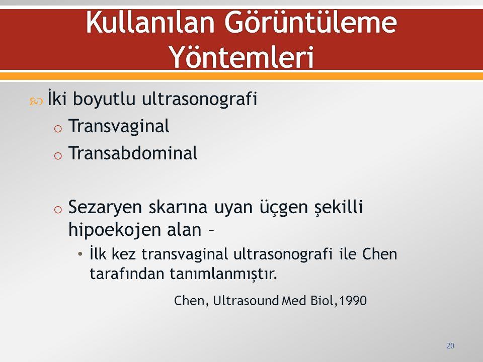  İki boyutlu ultrasonografi o Transvaginal o Transabdominal o Sezaryen skarına uyan üçgen şekilli hipoekojen alan – İlk kez transvaginal ultrasonogra