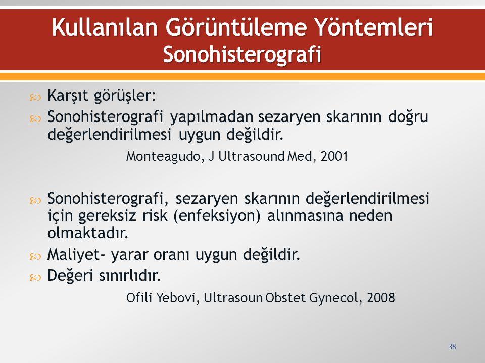  Karşıt görüşler:  Sonohisterografi yapılmadan sezaryen skarının doğru değerlendirilmesi uygun değildir. Monteagudo, J Ultrasound Med, 2001  Sonohi