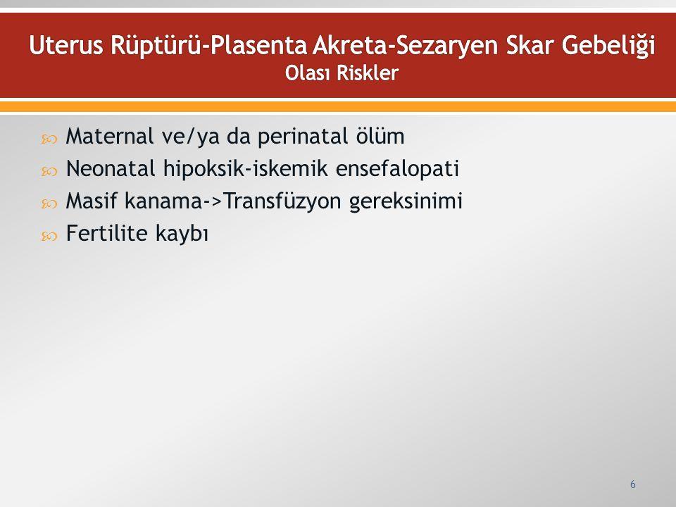  Maternal ve/ya da perinatal ölüm  Neonatal hipoksik-iskemik ensefalopati  Masif kanama->Transfüzyon gereksinimi  Fertilite kaybı 6