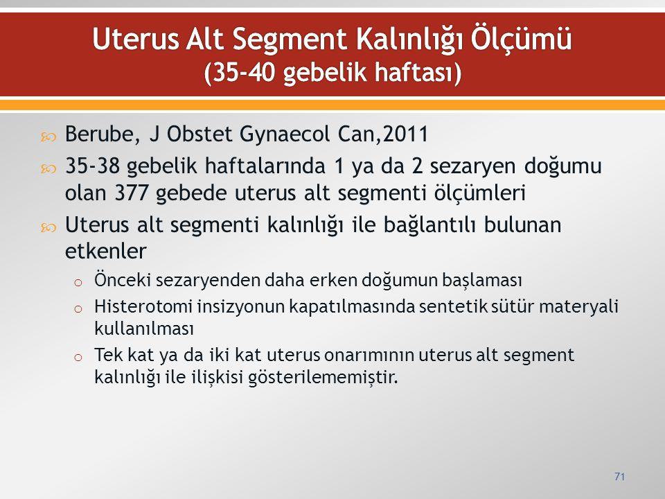  Berube, J Obstet Gynaecol Can,2011  35-38 gebelik haftalarında 1 ya da 2 sezaryen doğumu olan 377 gebede uterus alt segmenti ölçümleri  Uterus alt