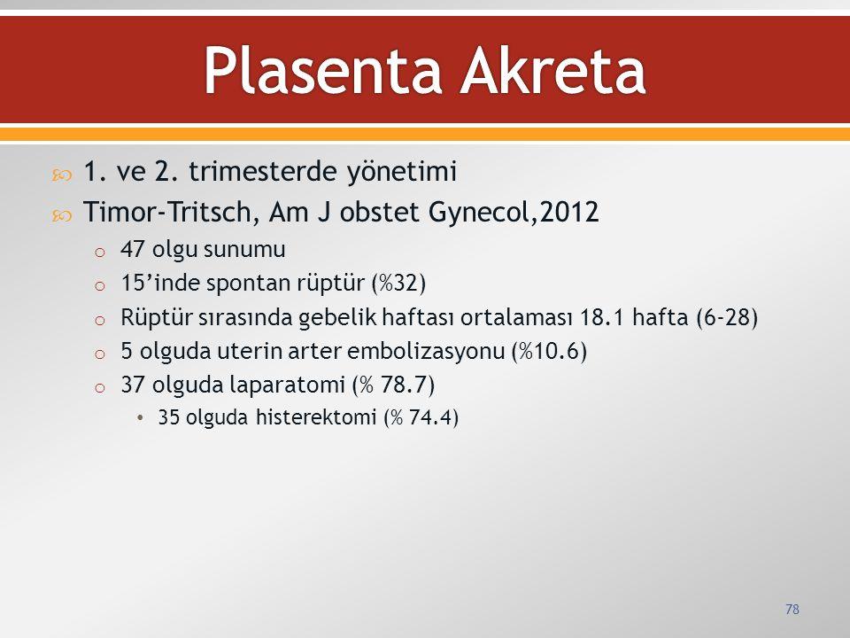  1. ve 2. trimesterde yönetimi  Timor-Tritsch, Am J obstet Gynecol,2012 o 47 olgu sunumu o 15'inde spontan rüptür (%32) o Rüptür sırasında gebelik h