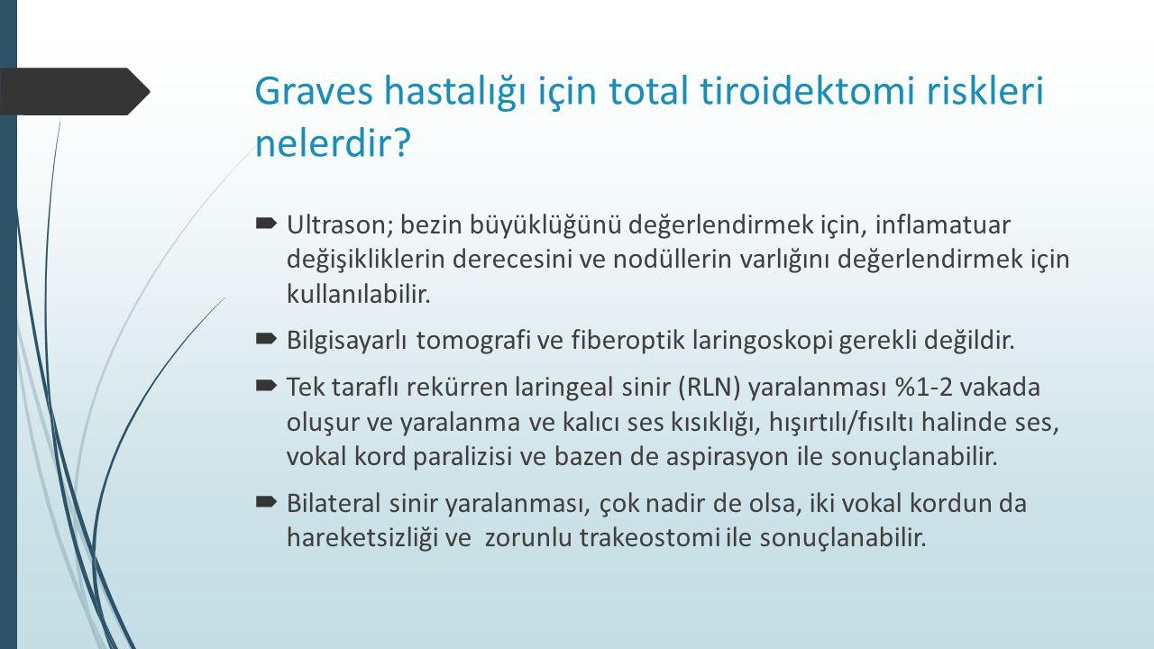 Graves hastalığı için total tiroidektomi riskleri nelerdir?  Ultrason; bezin büyüklüğünü değerlendirmek için, inflamatuar değişikliklerin derecesini