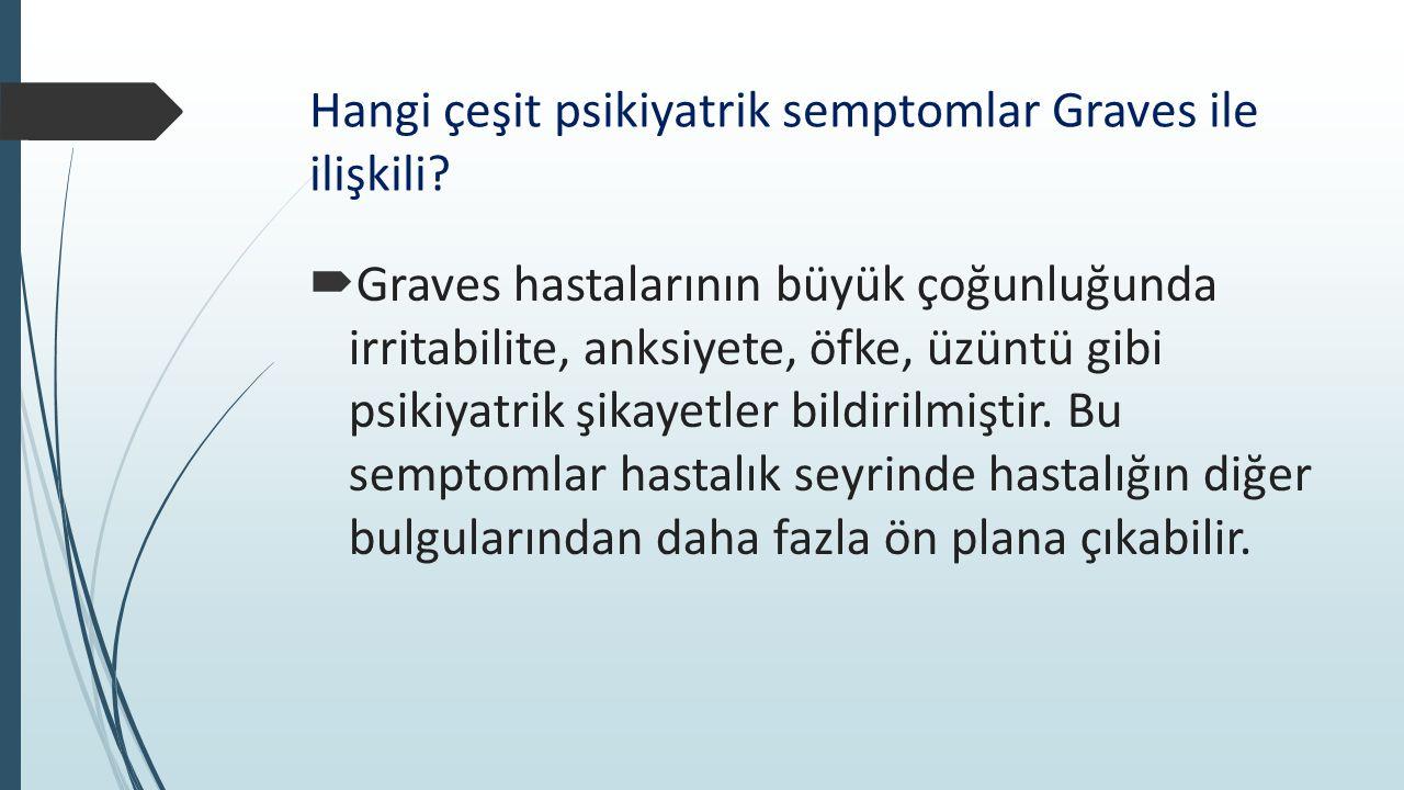 Hangi çeşit psikiyatrik semptomlar Graves ile ilişkili?  Graves hastalarının büyük çoğunluğunda irritabilite, anksiyete, öfke, üzüntü gibi psikiyatri