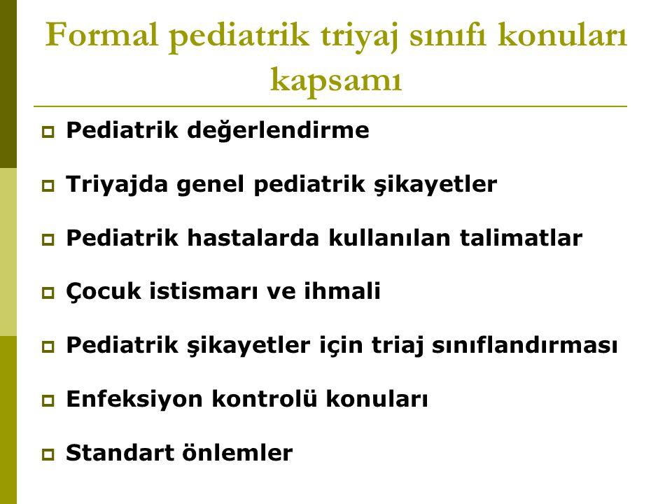 Formal pediatrik triyaj sınıfı konuları kapsamı  Pediatrik değerlendirme  Triyajda genel pediatrik şikayetler  Pediatrik hastalarda kullanılan tali
