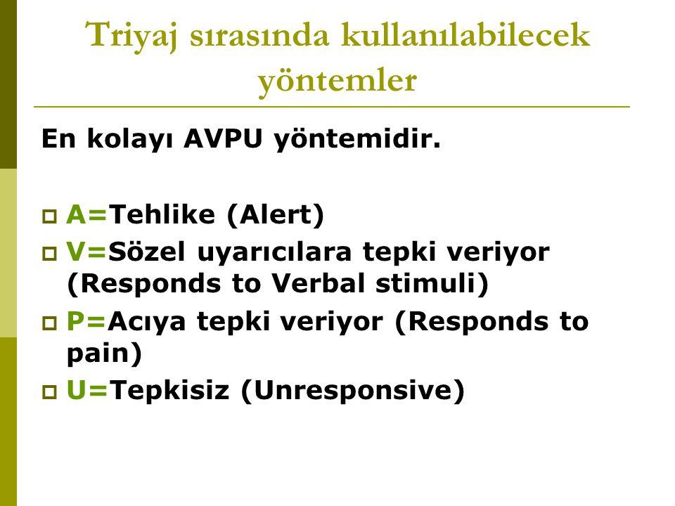 Triyaj sırasında kullanılabilecek yöntemler En kolayı AVPU yöntemidir.  A=Tehlike (Alert)  V=Sözel uyarıcılara tepki veriyor (Responds to Verbal sti