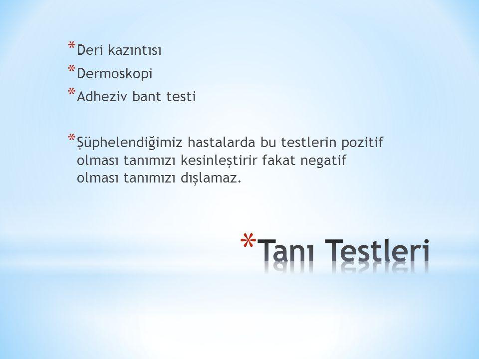 * Deri kazıntısı * Dermoskopi * Adheziv bant testi * Şüphelendiğimiz hastalarda bu testlerin pozitif olması tanımızı kesinleştirir fakat negatif olmas