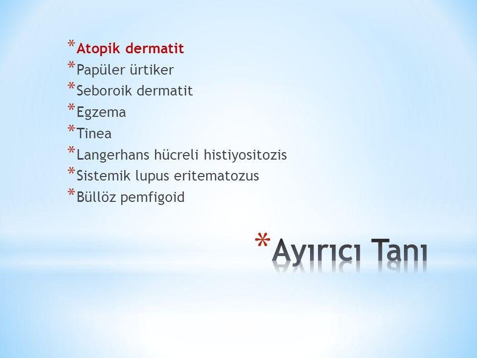 * Atopik Dermatit * Kaşıntı * Kişisel veya ailesel allerjik hastalık eşlik etmesi * Kronik ve tekrarlayan dermatit