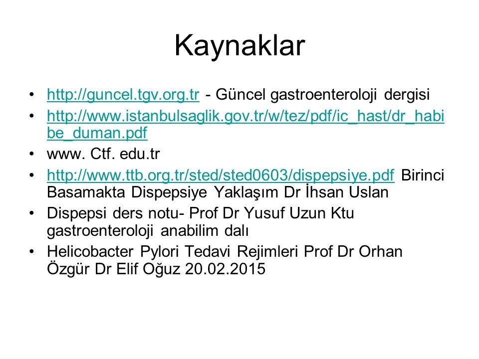 Kaynaklar http://guncel.tgv.org.tr - Güncel gastroenteroloji dergisihttp://guncel.tgv.org.tr http://www.istanbulsaglik.gov.tr/w/tez/pdf/ic_hast/dr_hab