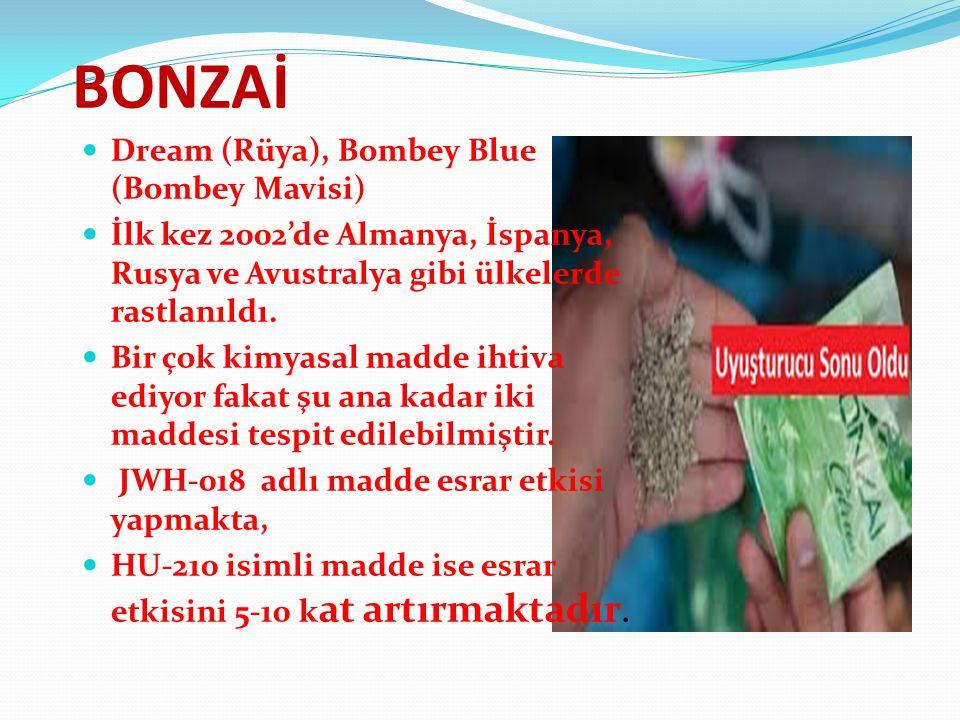 BONZAİ Dream (Rüya), Bombey Blue (Bombey Mavisi) İlk kez 2002'de Almanya, İspanya, Rusya ve Avustralya gibi ülkelerde rastlanıldı. Bir çok kimyasal ma