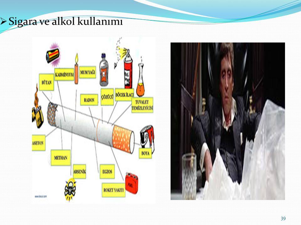  Sigara ve alkol kullanımı 39