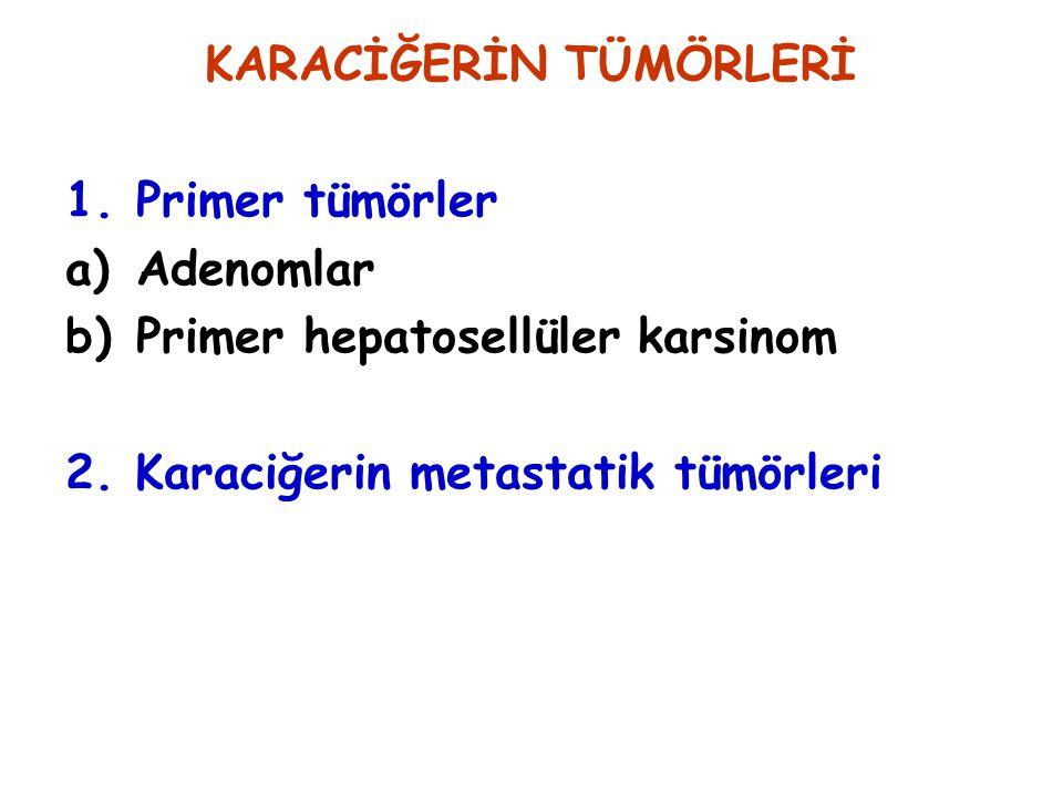 KARACİĞERİN TÜMÖRLERİ 1.Primer tümörler a)Adenomlar b)Primer hepatosellüler karsinom 2. Karaciğerin metastatik tümörleri