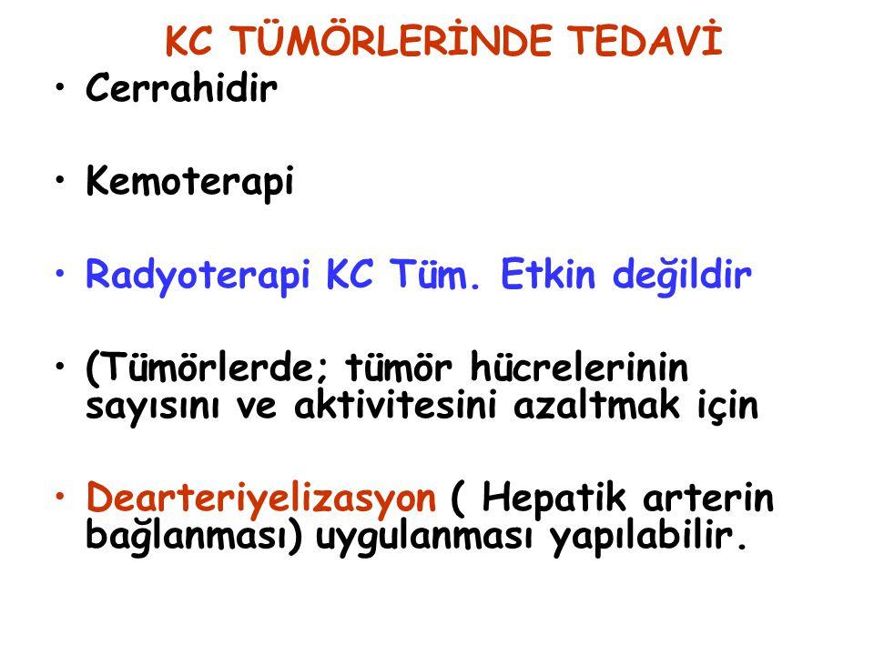 KC TÜMÖRLERİNDE TEDAVİ Cerrahidir Kemoterapi Radyoterapi KC Tüm. Etkin değildir (Tümörlerde; tümör hücrelerinin sayısını ve aktivitesini azaltmak için