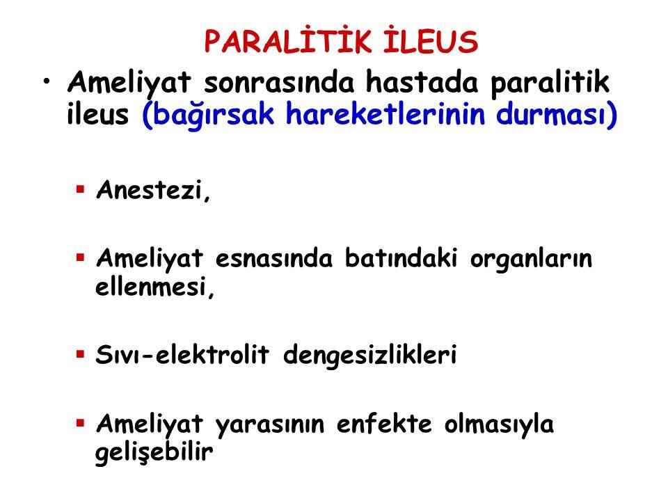 PARALİTİK İLEUS Ameliyat sonrasında hastada paralitik ileus (bağırsak hareketlerinin durması)  Anestezi,  Ameliyat esnasında batındaki organların el