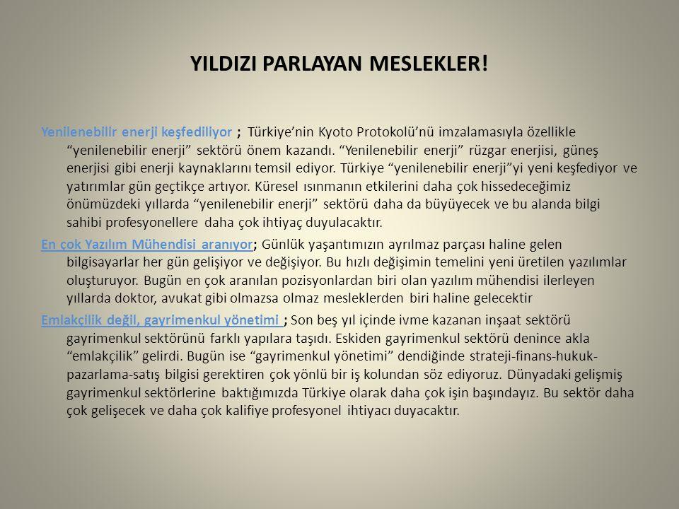 """YILDIZI PARLAYAN MESLEKLER! Yenilenebilir enerji keşfediliyor ; Türkiye'nin Kyoto Protokolü'nü imzalamasıyla özellikle """"yenilenebilir enerji"""" sektörü"""