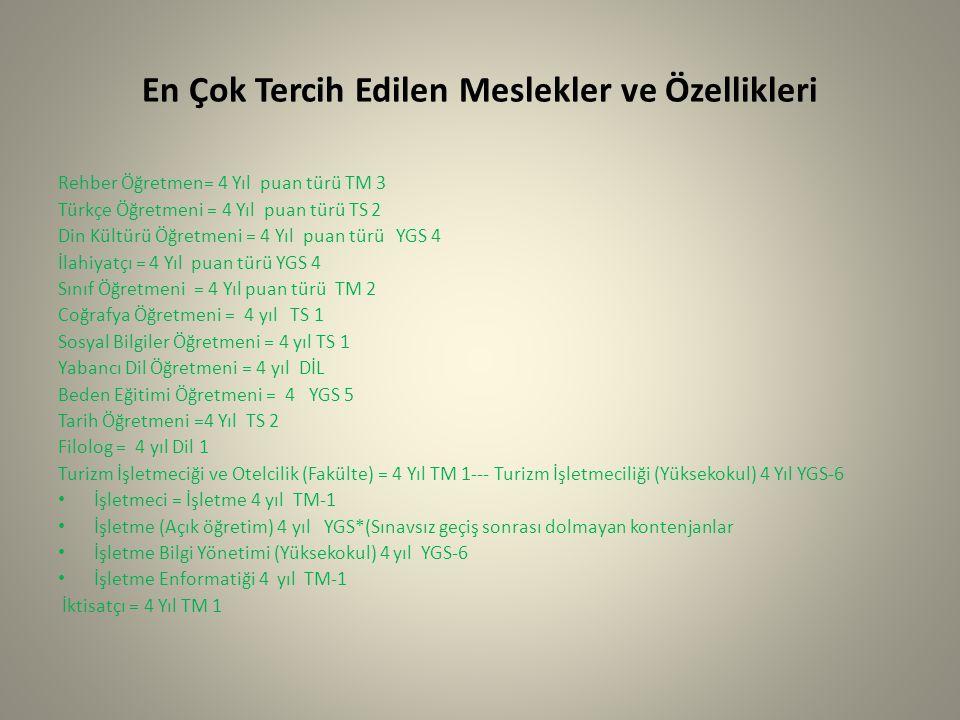 En Çok Tercih Edilen Meslekler ve Özellikleri Rehber Öğretmen= 4 Yıl puan türü TM 3 Türkçe Öğretmeni = 4 Yıl puan türü TS 2 Din Kültürü Öğretmeni = 4