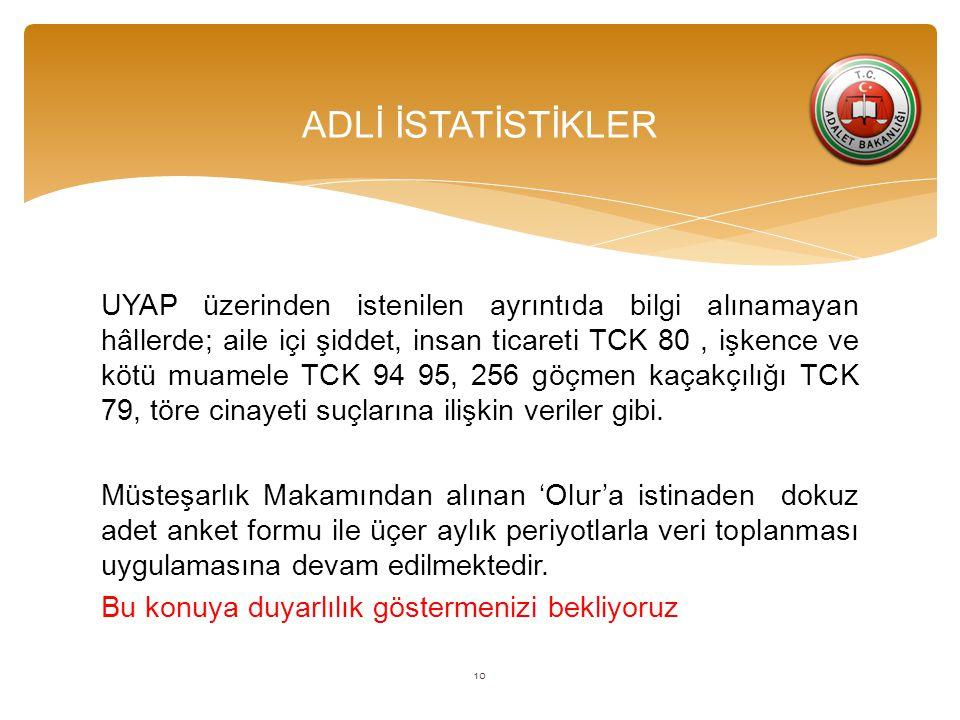 UYAP üzerinden istenilen ayrıntıda bilgi alınamayan hâllerde; aile içi şiddet, insan ticareti TCK 80, işkence ve kötü muamele TCK 94 95, 256 göçmen kaçakçılığı TCK 79, töre cinayeti suçlarına ilişkin veriler gibi.