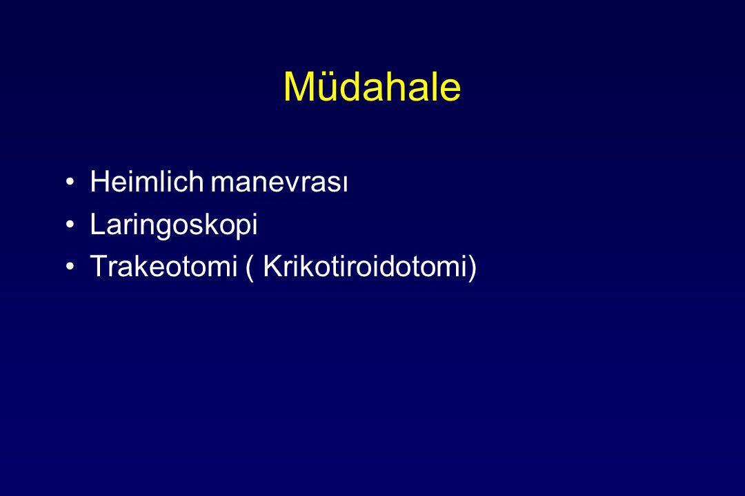 Müdahale Heimlich manevrası Laringoskopi Trakeotomi ( Krikotiroidotomi)