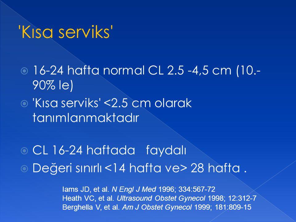  16-24 hafta normal CL 2.5 -4,5 cm (10.- 90% le)  'Kısa serviks' <2.5 cm olarak tanımlanmaktadır  CL 16-24 haftada faydalı  Değeri sınırlı 28 haft