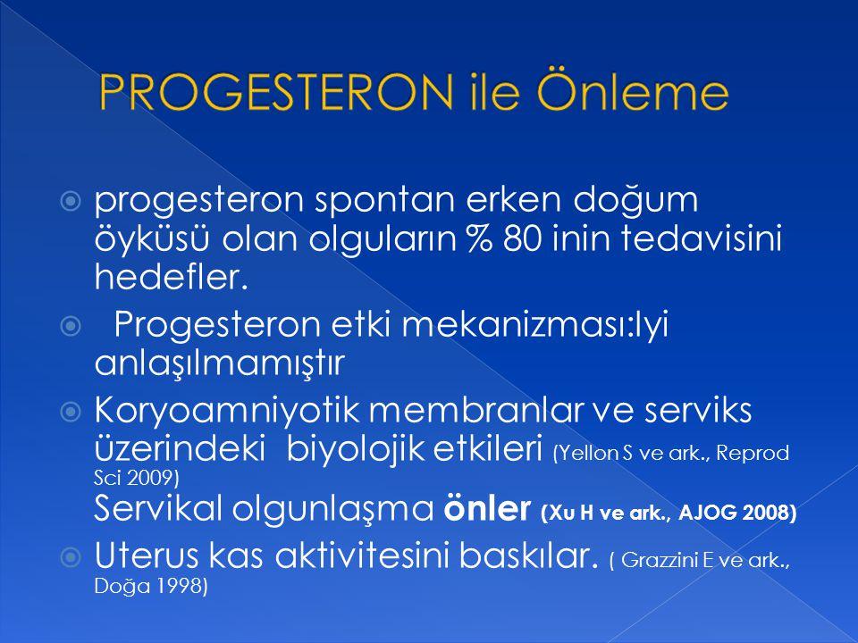  progesteron spontan erken doğum öyküsü olan olguların % 80 inin tedavisini hedefler.  Progesteron etki mekanizması:Iyi anlaşılmamıştır  Koryoamniy