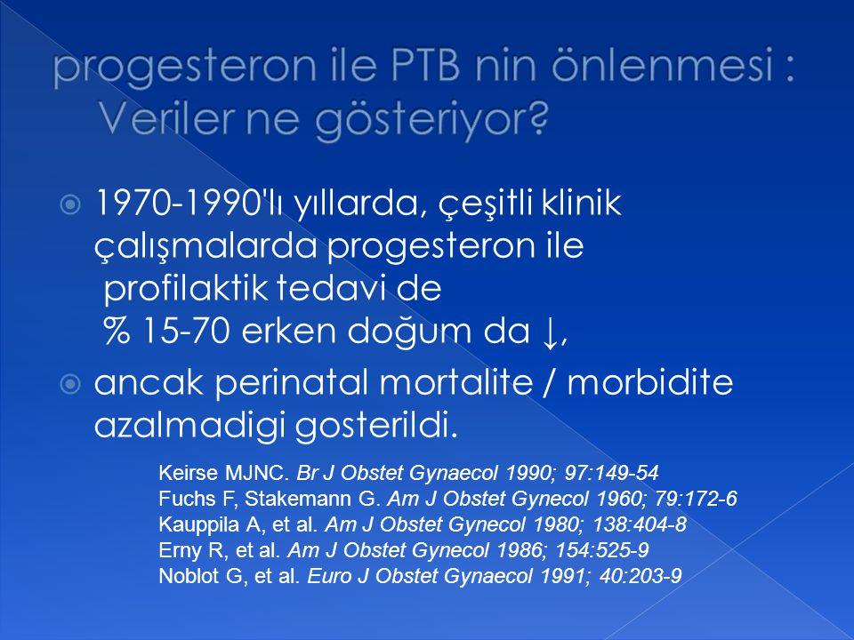  1970-1990'lı yıllarda, çeşitli klinik çalışmalarda progesteron ile profilaktik tedavi de % 15-70 erken doğum da ↓,  ancak perinatal mortalite / mor