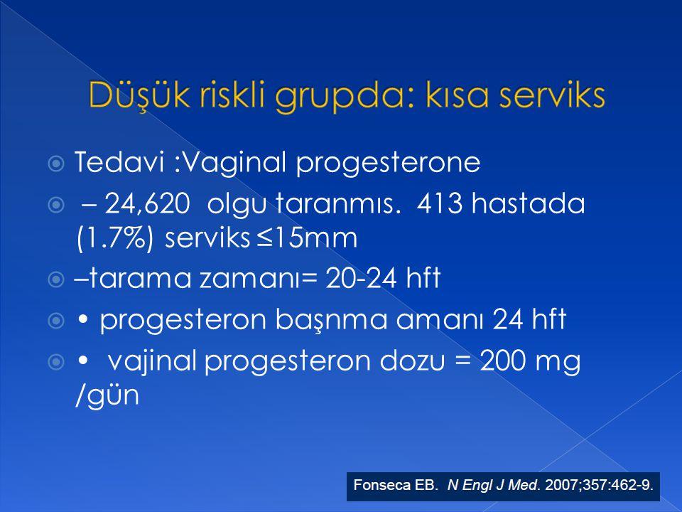  Tedavi :Vaginal progesterone  – 24,620 olgu taranmıs. 413 hastada (1.7%) serviks ≤15mm  –tarama zamanı= 20-24 hft  progesteron başnma amanı 24 hf