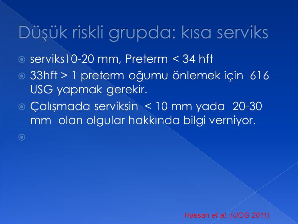  serviks10-20 mm, Preterm < 34 hft  33hft > 1 preterm oğumu önlemek için 616 USG yapmak gerekir.  Çalışmada serviksin < 10 mm yada 20-30 mm olan ol