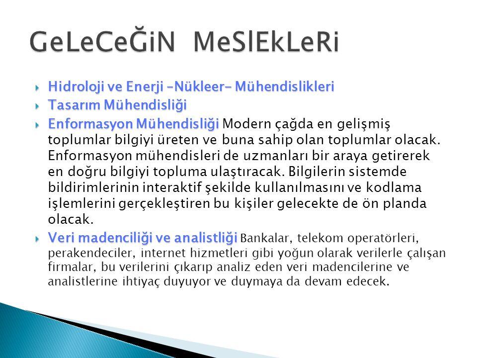  Hidroloji ve Enerji –Nükleer- Mühendislikleri  Tasarım Mühendisliği  Enformasyon Mühendisliği  Enformasyon Mühendisliği Modern çağda en gelişmiş