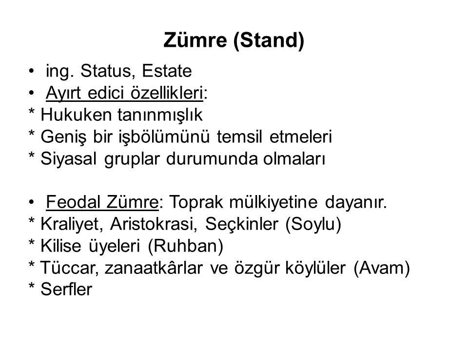 Zümre (Stand) ing. Status, Estate Ayırt edici özellikleri: * Hukuken tanınmışlık * Geniş bir işbölümünü temsil etmeleri * Siyasal gruplar durumunda ol
