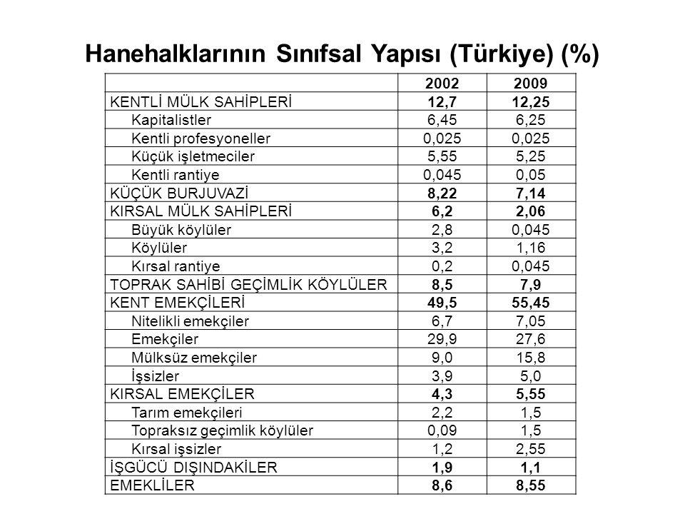 Hanehalklarının Sınıfsal Yapısı (Türkiye) (%) 20022009 KENTLİ MÜLK SAHİPLERİ12,712,25 Kapitalistler6,456,25 Kentli profesyoneller0,025 Küçük işletmeci