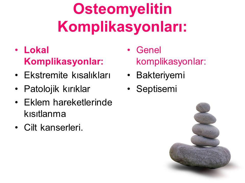 Osteomyelitin Komplikasyonları: Lokal Komplikasyonlar: Ekstremite kısalıkları Patolojik kırıklar Eklem hareketlerinde kısıtlanma Cilt kanserleri. Gene