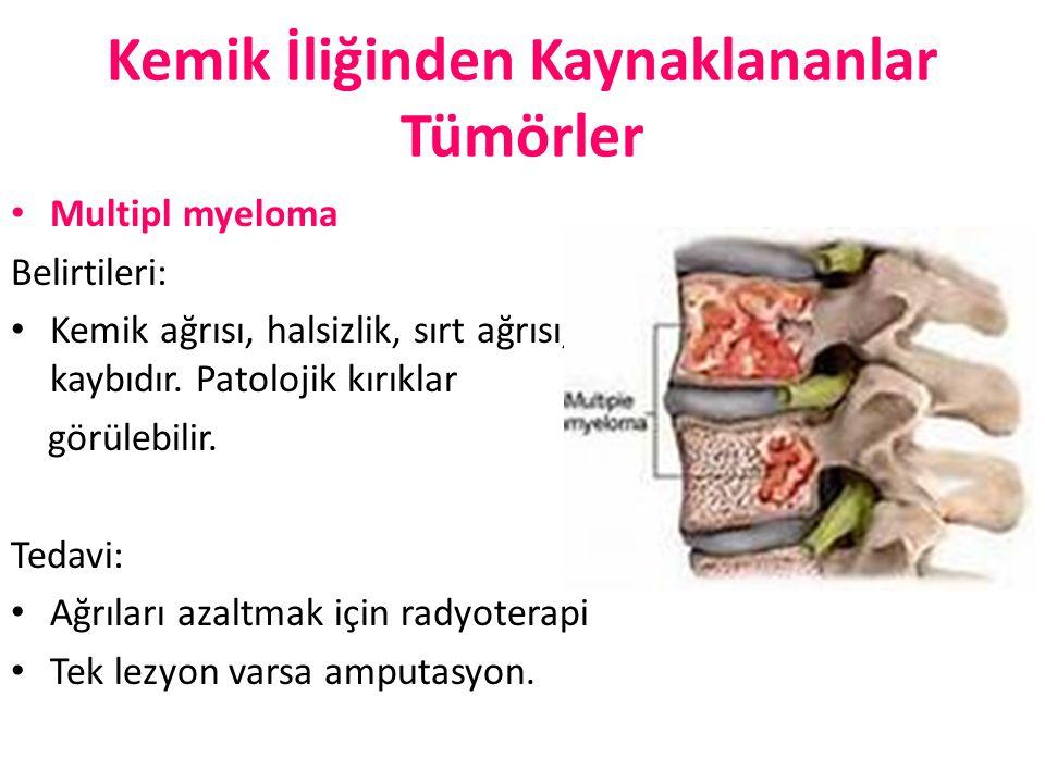 Kemik İliğinden Kaynaklananlar Tümörler Multipl myeloma Belirtileri: Kemik ağrısı, halsizlik, sırt ağrısı, kilo kaybıdır. Patolojik kırıklar görülebil