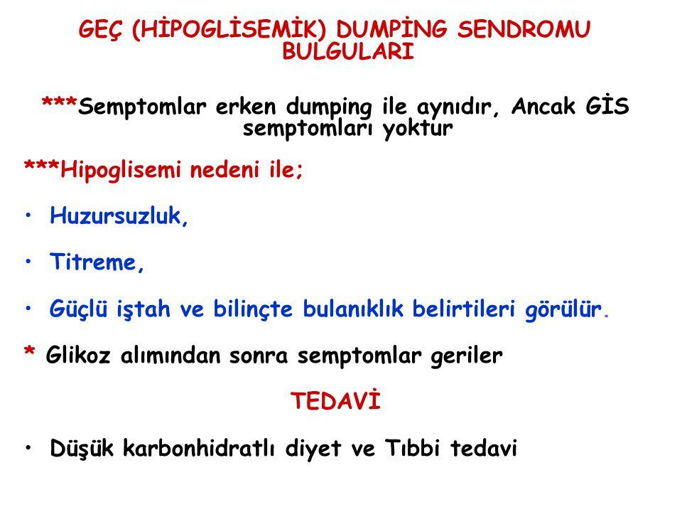 GEÇ (HİPOGLİSEMİK) DUMPİNG SENDROMU BULGULARI ***Semptomlar erken dumping ile aynıdır, Ancak GİS semptomları yoktur ***Hipoglisemi nedeni ile; Huzursu