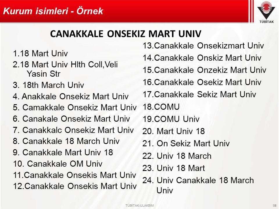TÜBİTAK TÜBİTAK-ULAKBİM 38 1.18 Mart Univ 2.18 Mart Univ Hlth Coll,Veli Yasin Str 3.