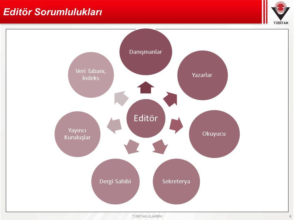 TÜBİTAK TÜBİTAK-ULAKBİM 8 Editör Sorumlulukları Editör Danışmanlar Yazarlar Okuyucu Sekreterya Dergi Sahibi Yayıncı Kuruluşlar Veri Tabanı, İndeks