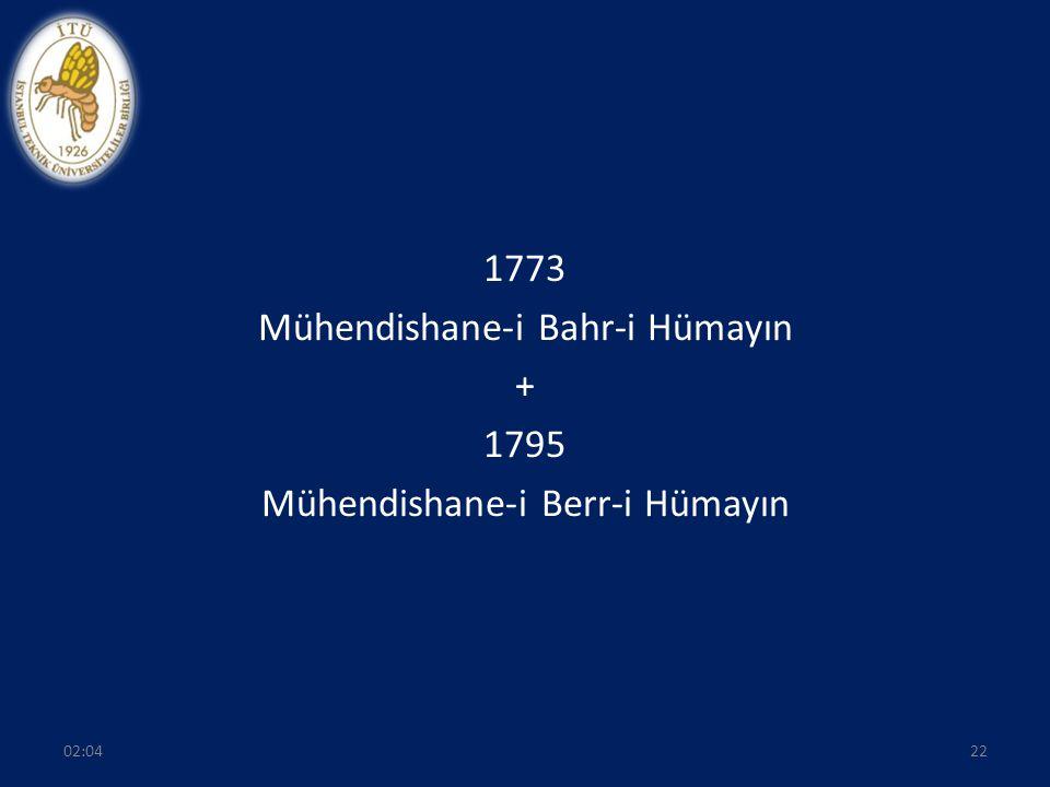 1773 Mühendishane-i Bahr-i Hümayın + 1795 Mühendishane-i Berr-i Hümayın 2202:06
