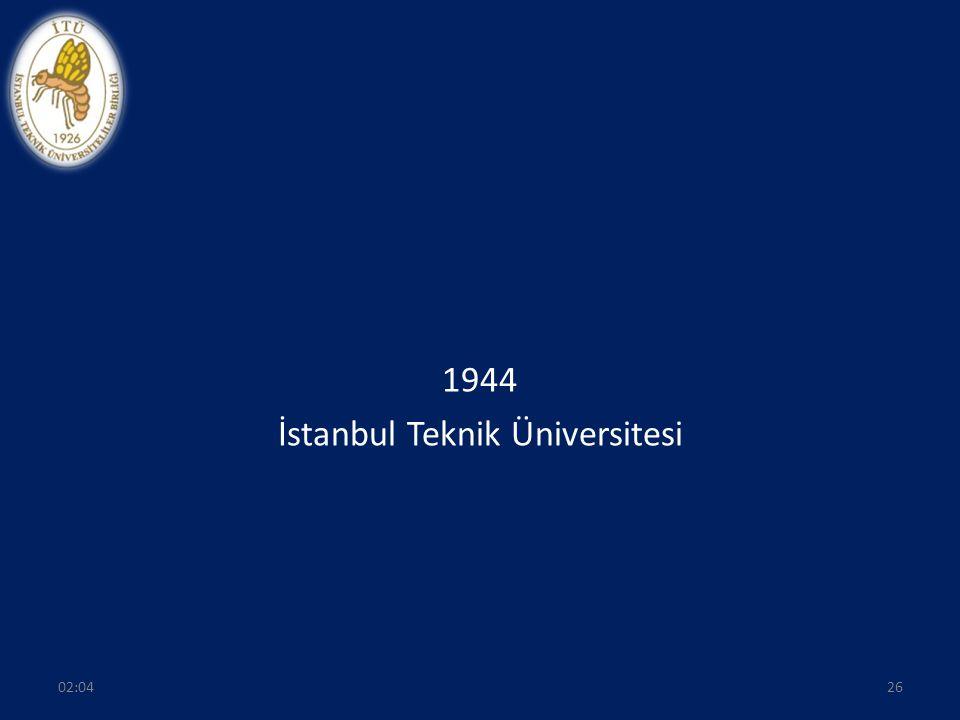 1944 İstanbul Teknik Üniversitesi 2602:06