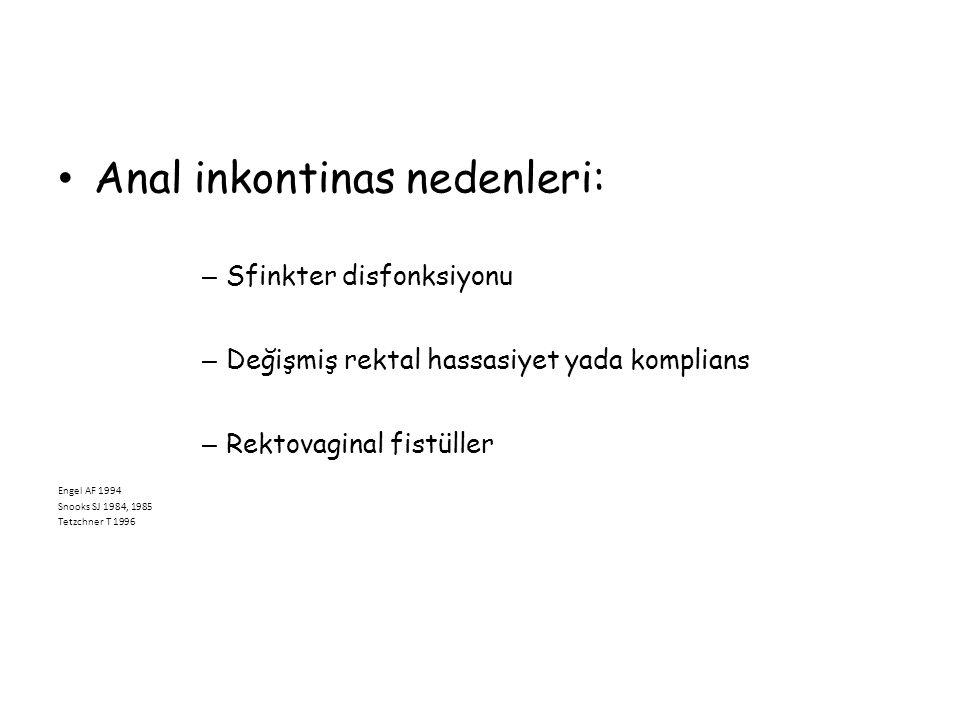Anal inkontinas nedenleri: – Sfinkter disfonksiyonu – Değişmiş rektal hassasiyet yada komplians – Rektovaginal fistüller Engel AF 1994 Snooks SJ 1984,