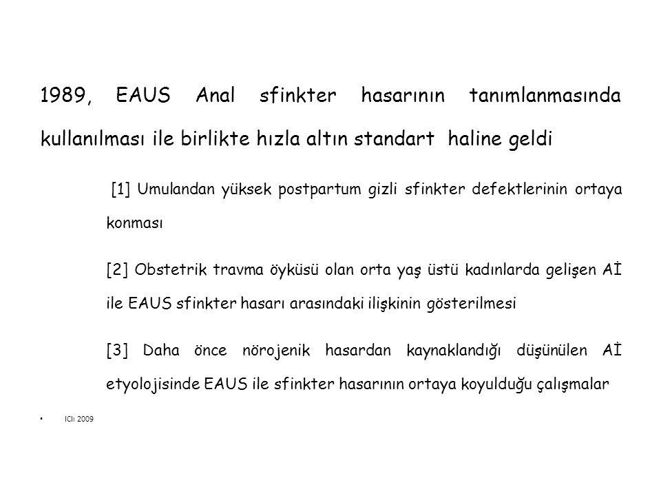 1989, EAUS Anal sfinkter hasarının tanımlanmasında kullanılması ile birlikte hızla altın standart haline geldi [1] Umulandan yüksek postpartum gizli s