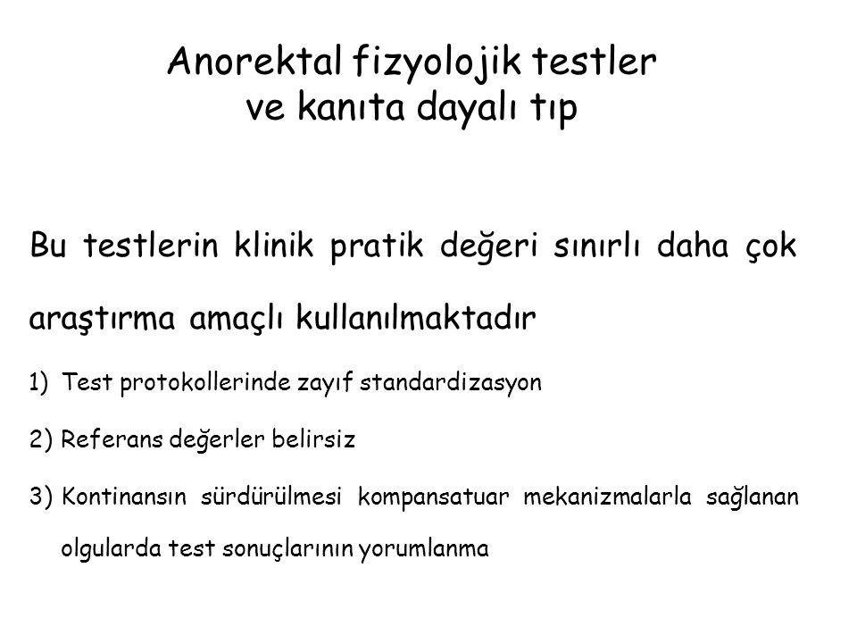 Anorektal fizyolojik testler ve kanıta dayalı tıp Bu testlerin klinik pratik değeri sınırlı daha çok araştırma amaçlı kullanılmaktadır 1)Test protokol